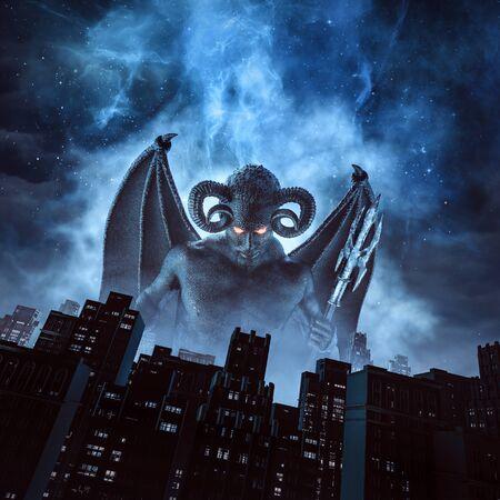 Nuit du démon du diable cornu avec des ailes et un trident s'élevant au-dessus de la ville sous le ciel nocturne