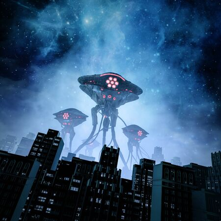 Night of the invasion of retro science fiction scene with giant alien machines attacking city