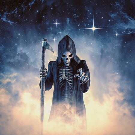 Dead of night of cloaked skeletal grim reaper reaching toward viewer through magically glowing mist