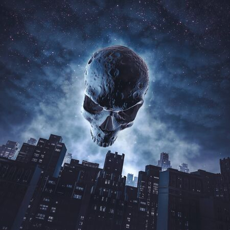 The face of Halloween of skull moon rising over city buildings against starry night sky Imagens