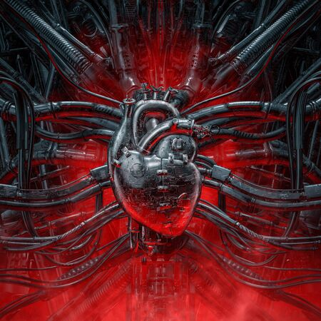Heart of the gamer of grungy metallic artificial robot heart connected to alien machinery