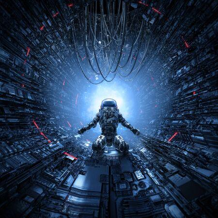 Last man standing of lone astronaut left behind in dark space station corridor