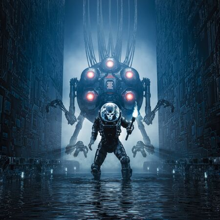Entering the temple of science fiction scene showing evil skull faced astronaut exploring watery corridor with giant robot