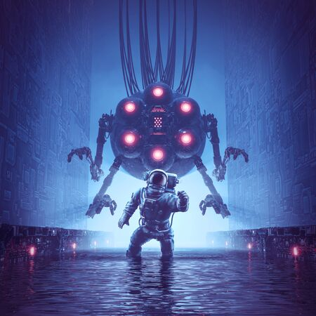 You better run of science fiction scene showing astronaut trying to escape giant alien robot in watery corridor 스톡 콘텐츠