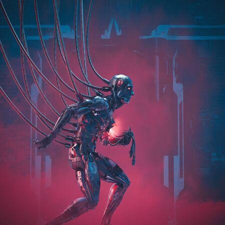 System failure imminent of damaged futuristic metallic science fiction male humanoid cyborg seeking help