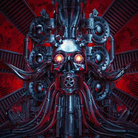 Heavy metal dreams of science fiction scary robotic skull artificial intelligence hardwired to computer core 스톡 콘텐츠