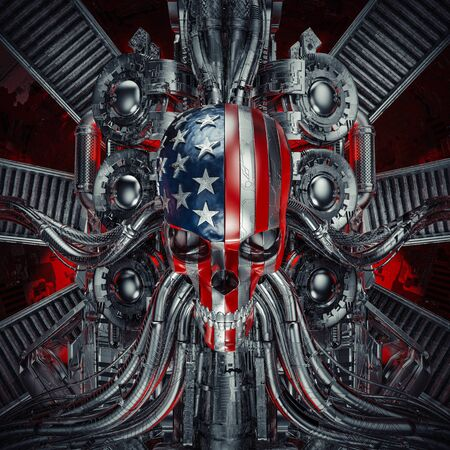 The American nightmare of scary rock n roll USA flag skull with chrome motorcycle engine machinery