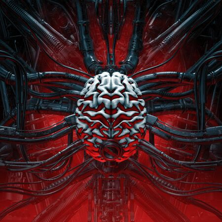 Brain of the gamer of artificial human brain connected to alien machinery 스톡 콘텐츠