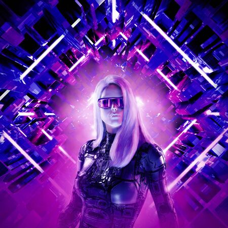 Cyberpunk female heroine  3D illustration of beautiful blond woman with sunglasses in futuristic neon lit corridor