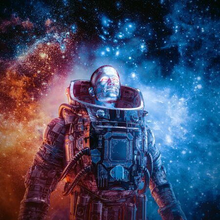Between new frontiers  3D illustration of science fiction scene with heroic robotic astronaut surrounded by glowing galaxies in outer space
