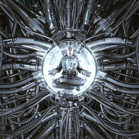 Time portal harmony of science fiction scene showing peaceful astronaut meditating inside complex futuristic alien machine