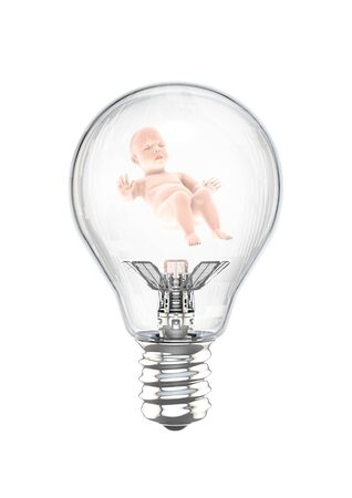 Baby light bulb of human child sleeping peacefully inside futuristic light bulb Foto de archivo