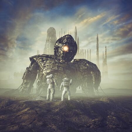 Ancient guardian awakens  of science fiction scene showing astronauts finding giant robot in the desert outside ancient city Фото со стока