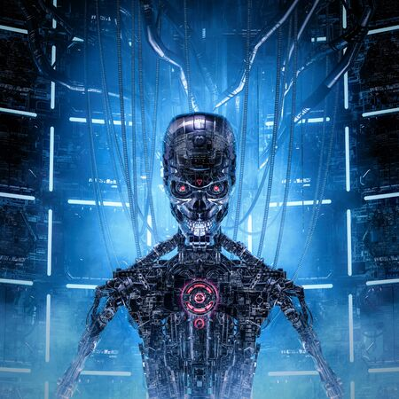 Digital mind reloaded of futuristic glass science fiction male humanoid cyborg composed of complex machinery