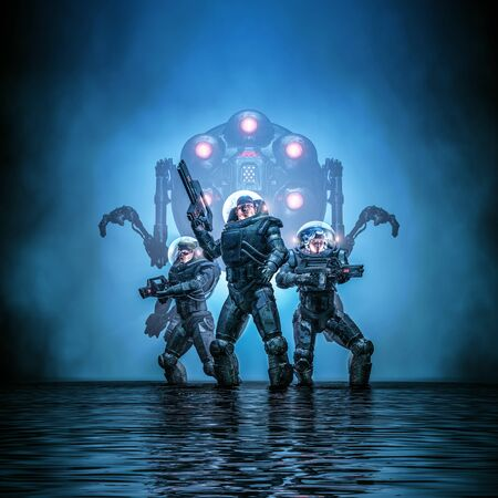 Search party augmented of science fiction scene showing heroic space marine astronauts with robot in dark watery environment Stock Photo