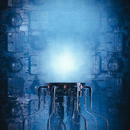 Science fiction pedestal  3D illustration of dark futuristic machinery with glowing copy space