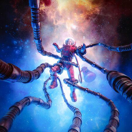 La terreur au-delà des étoiles de la scène de science-fiction rétro pulp montrant une astronaute capturée par un monstre à tentacules dans l'espace