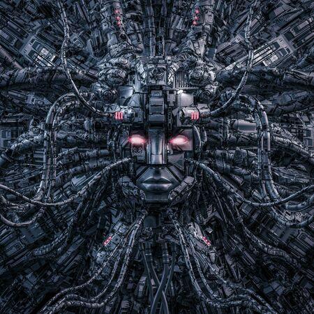 Diosa digital recargada / Ilustración 3D de ciencia ficción robótica inteligencia artificial femenina que crece desde el núcleo de la computadora