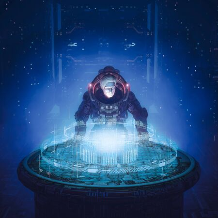 Deep space strategy session of science fiction scene with armored astronaut examining holographic starship bridge data display