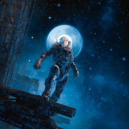 Ready for adventure of science fiction scene with heroic astronaut gazing to the stars from space station platform