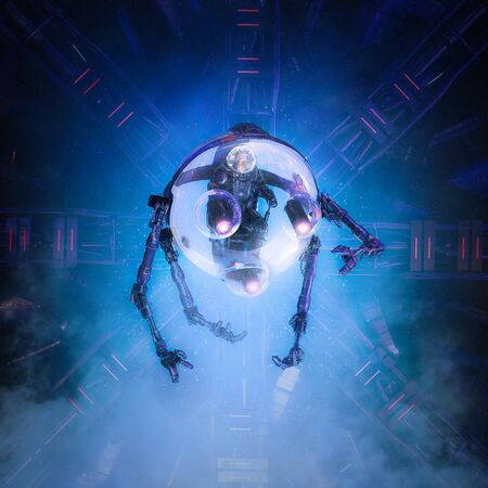 Dive into the unknown / 3D illustration of science fiction scene showing male astronaut exploring alien space ship in robotic multi armed glass capsule
