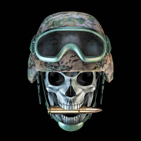 Bite the bullet army skull / 3D illustration of grungy military soldier skull wearing helmet and goggles biting rifle bullet