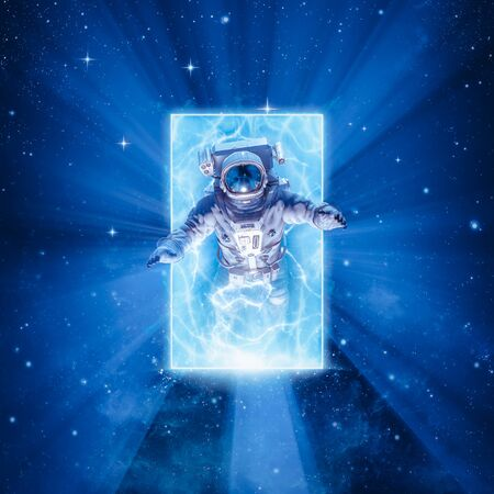 Science fiction scene with astronaut passing through glowing energy portal in outer space