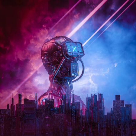 Male science fiction humanoid cyborg rising behind modern city against ominous sky Foto de archivo