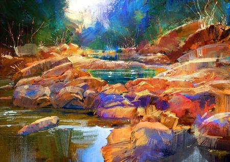 추상: 숲에서 다채로운 돌, 디지털 회화와 아름다운 가을 강 라인