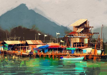 paesaggio marino dipinto che mostra antico villaggio di pescatori, pittura digitale