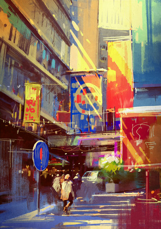 painting art: colorful painting of urban city.illustration