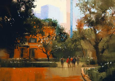 people.digital 絵画と都市のシーン 写真素材