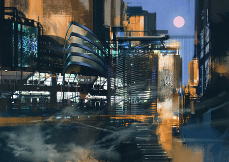 cyberpunk: digital painting of futuristic sci-fi city Stock Photo