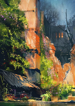 abandoned building: digital painting of abandoned building covered with vegetation