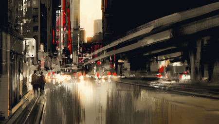 light painting: city street digital painting.illustration Stock Photo