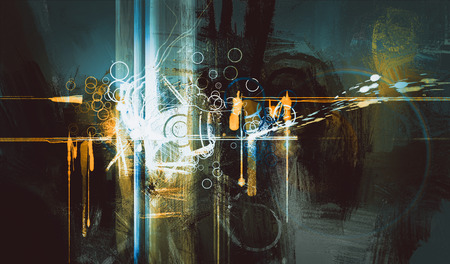abstract digital painting, creative technologies composed Stock Photo