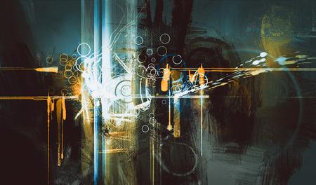 pittura digitale astratto, tecnologie creative composte