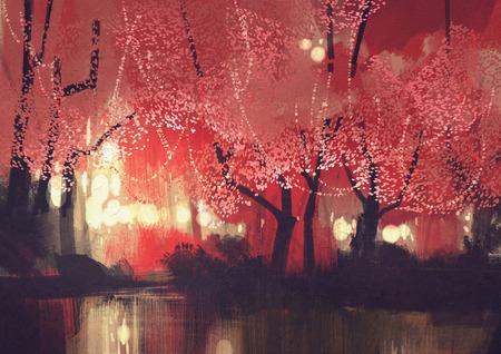 flor de sakura: escena de la noche del bosque de otoño, pintura paisaje de fantasía Foto de archivo