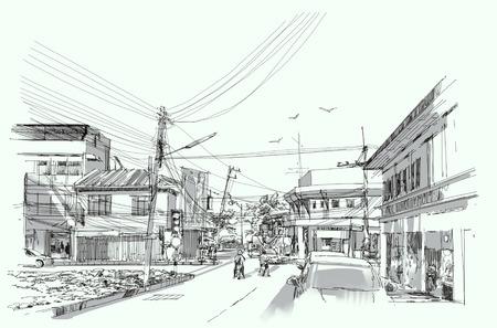 pencil drawn: city street digital sketch.Illustration Stock Photo