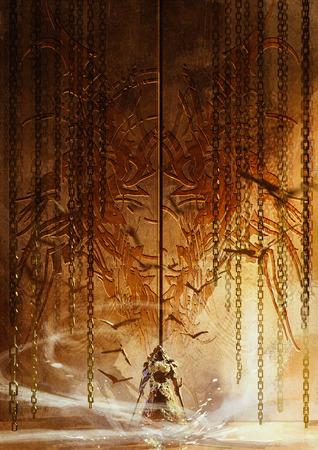 рыцарь, стоящий перед огромным ворота, привратник рыцарь, цифровой живописи Фото со стока