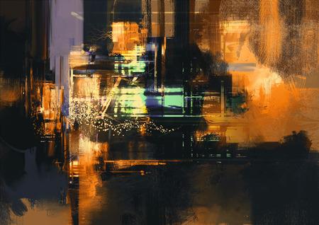 pintura abstracta: Pintura digital abstracta con textura de fondo en colores oro