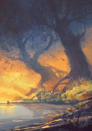 pittura di paesaggio di fantasia di grandi alberi con enormi radici in spiaggia al tramonto