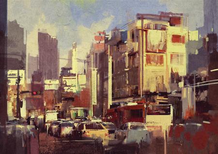 painting of city traffic jam on the street 스톡 콘텐츠