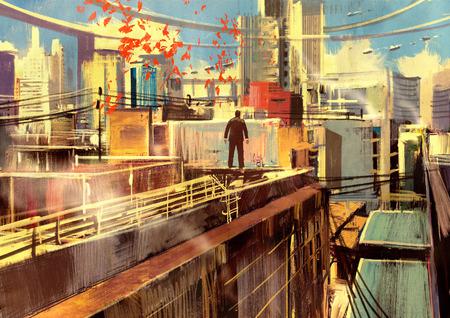 デジタル大都市高層ビルの屋上に立ってビジネス人の塗装