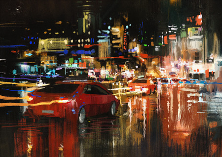 contemporary style: digital painting of city street at night with colorful lights.