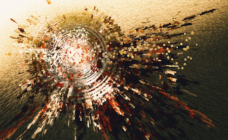 抽象的なハイテク円背景のデジタル絵画