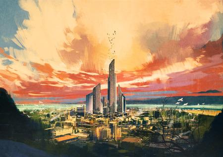 Цифровая живопись футуристического фантастического города с небоскреба на закате, иллюстрации