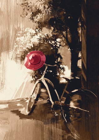 painting on wall: vintage bicycle and red hat on summer day.digital painting