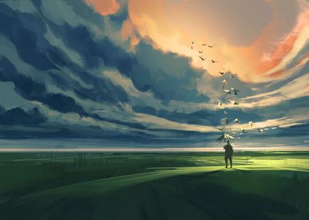 HOMBRE PINTANDO: pintura del hombre que sostiene un paraguas de pie solo en el prado mirando al horizonte nublado Foto de archivo