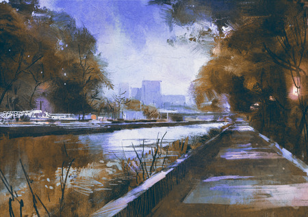 quiet scenery: riverside walkway in a tranquil city,digital painting Stock Photo